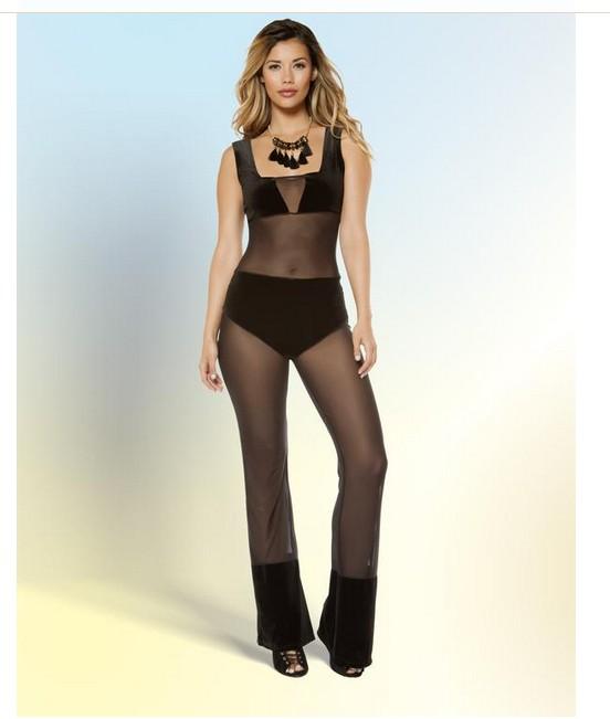 Roma Velvet and Mesh Jump Suit