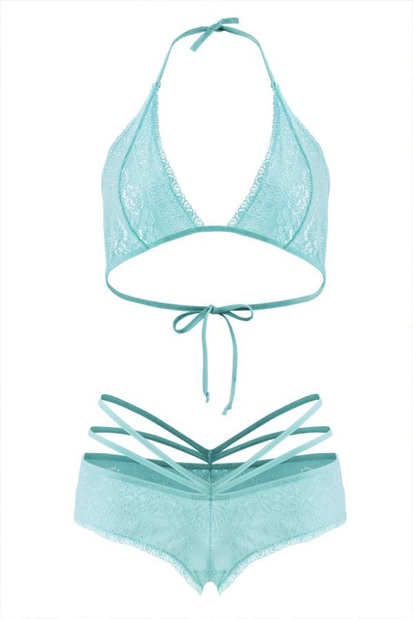 Bralette and Caged Shortie Aqua