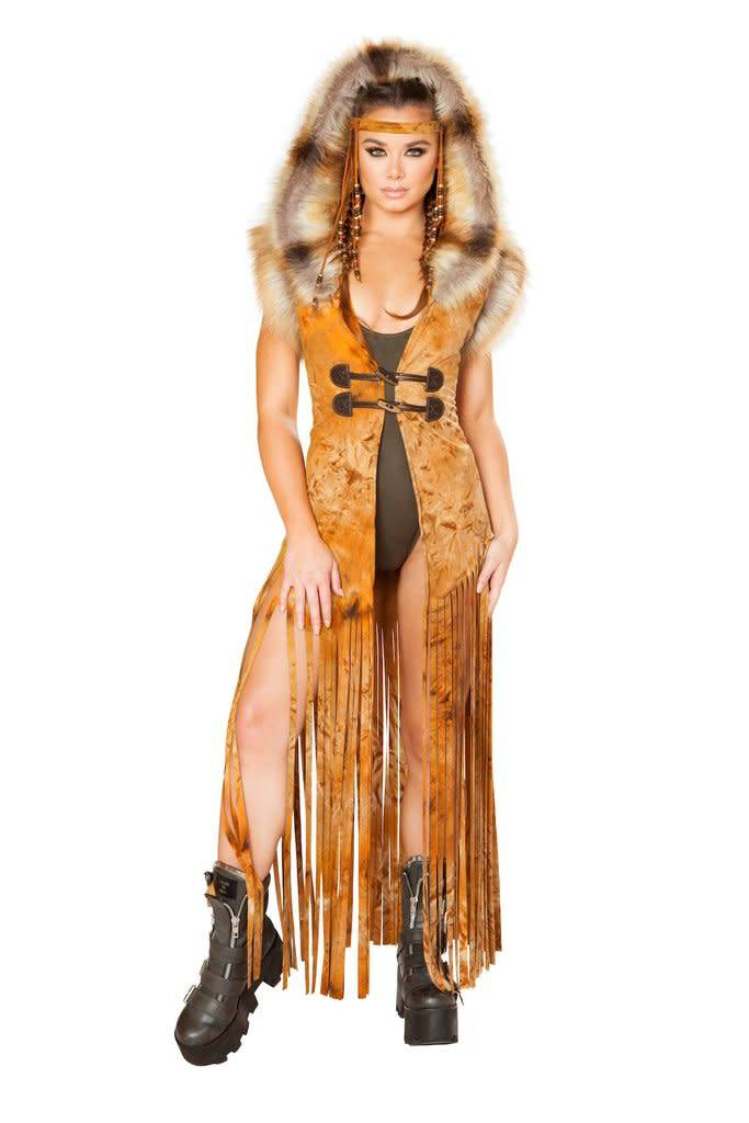 Hooded Fringe Faux Suede Duster