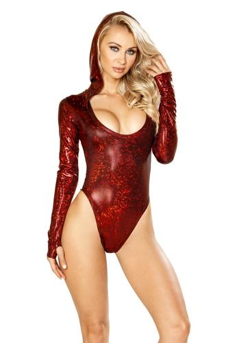 J. Valentine Long Sleeve Hooded Spandex BodySuit