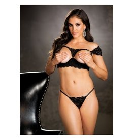 Venetian Lace Open Bust Bra Set