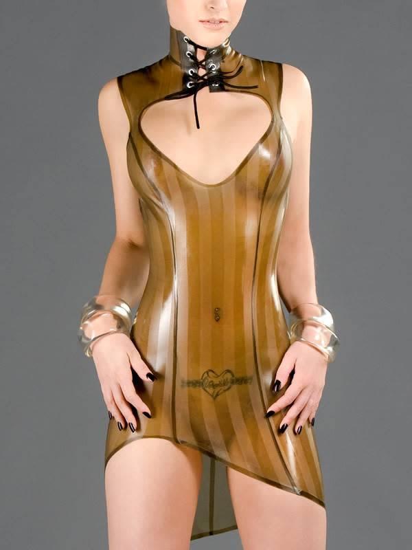 DP Striped Latex Amazon Dress
