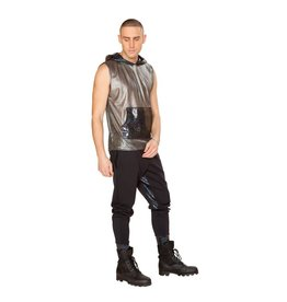 Hooded Mesh and Metallic Tank Top