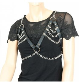 Leather & Tiered Chain Bra Harness