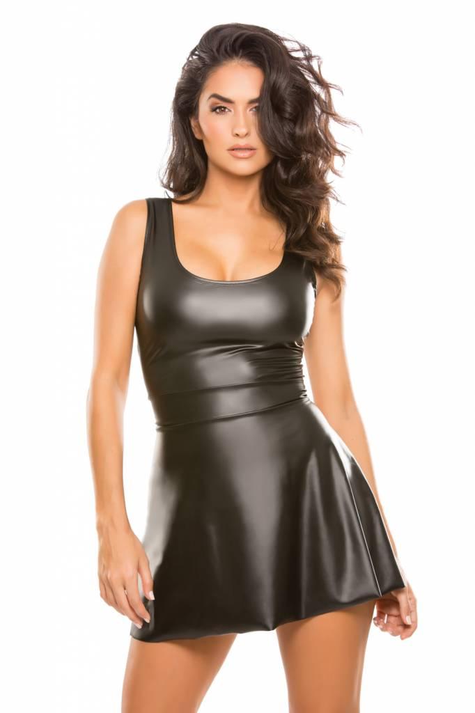 Second Skin Wetlook Tank Flare Dress