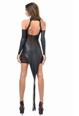 Bibi Wetlook & Mesh Dress w/ Tail