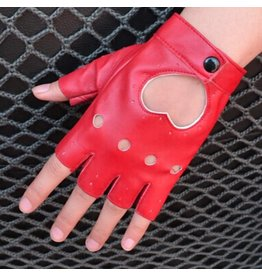 Leatherette Fingerless Heart Gloves