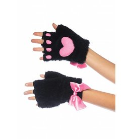 Plush Kitty Paw Fingerless Gloves