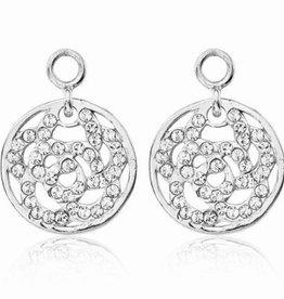 Nikki Lissoni Sparkling Flower' Silver Earring Coins