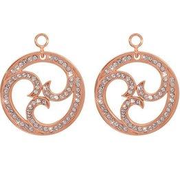 Nikki Lissoni Sparkling Curls' Rose Gold Earring Coins