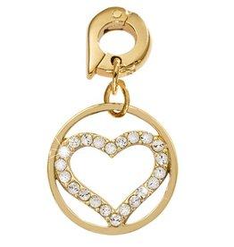 Nikki Lissoni 'Sparkling Heart' 15mm Gold Charm