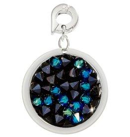 Nikki Lissoni 'Blue Rock Crystal'  20mm Silver Charm