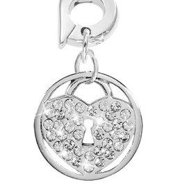 Nikki Lissoni 'Sparkling Lock' 15mm Silver Charm