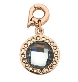 Nikki Lissoni Chic Gray/Blue Mirror Glass' 15mm  Rose Gold Charm