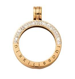 Nikki Lissoni Small Gold Half Pave Pendant