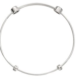 "Nikki Lissoni 6.5"" Silver Plated Charm Bangle"