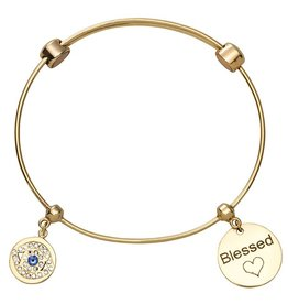 Nikki Lissoni 'Blessed' Gold Charm Bangle