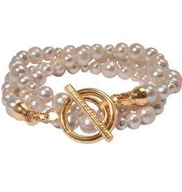 Nikki Lissoni Triple White Pearl Bracelet