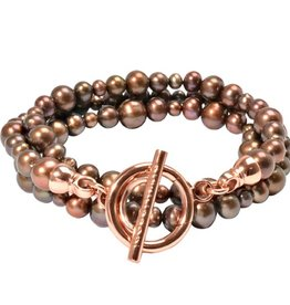 Nikki Lissoni Brown Pearl & Rose Gold Braclet