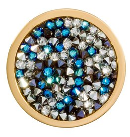 Nikki Lissoni Blue & White Rock Crystal Coin