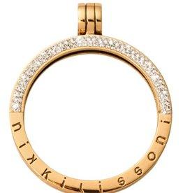 Nikki Lissoni Medium Gold Half Pave  Pendant