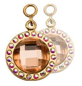 Nikki Lissoni Peach Mirror Glass Gold Earring Coins