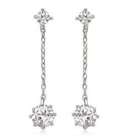 Sterling Silver & CZ  Drop Earrings