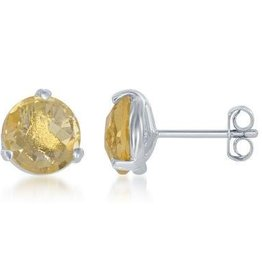 Sterling Silver & Citrine Stud Earrings