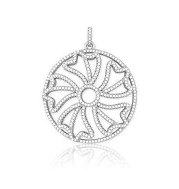 Sterling Silver Micro Pave Flower Pendant Set