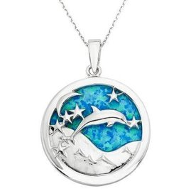 Sterling & Opal Jumping Dolphin Pendant Set