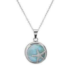 Sterling & Larimar Round Starfish Pendant Set
