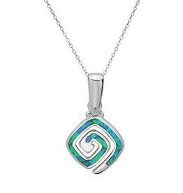 Sterling & Blue Opal Square Swirl Pendant Set