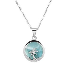 Sterling Silver & Larimar Palm Tree Pendant Set