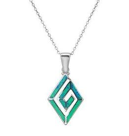 Sterling & Blue Opal Geometric Swirl Pendant Set