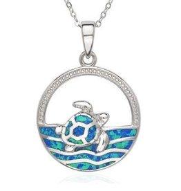 Sterling & Blue Opal Sea Turtle Pendant Set
