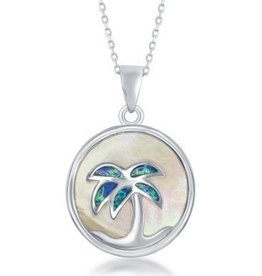 Sterling & Mother of Pearl Palm Tree Pendant Set