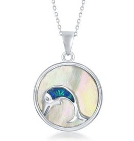 Sterling & Mother of Pearl Dolphin Pendant Set