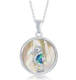 Sterling & Mother of Pearl Seahorse Pendant Set