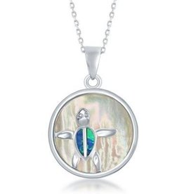 Sterling & Mother of Pearl Turtle Pendant Set
