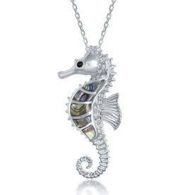 Sterling Silver Abalone Seahorse Pendant Set