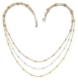 Sterling Silver Tri-Color Triple Chain Necklace
