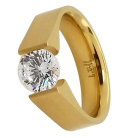 B. Tiff New York Gold Stainless Steel Signity Ring - Size 6