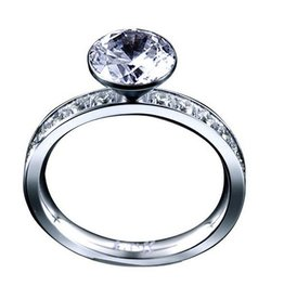 B. Tiff New York Stainless Steel Eternity Solitaire  - Size 7