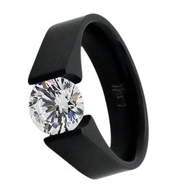 B. Tiff New York Black Stainless 2.0 ct Tension Set Ring
