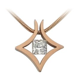 B. Tiff New York Rose Gold Plated Natal Pendant & Chain