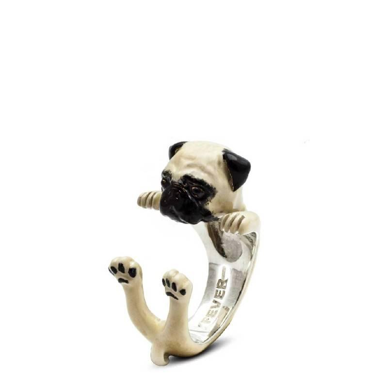 Dog Fever Pug Enameled Dog Hug Ring, Size 8