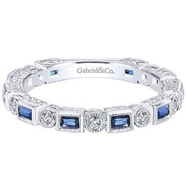 Gabriel & Co. 14K White Gold Sapphire & Diamond Ring