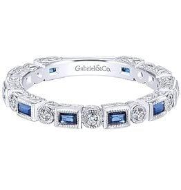 Gabriel & Co. 14K White Gold Sapphire & Diamond Ring
