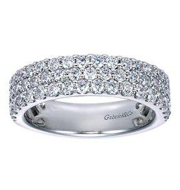 Gabriel & Co. 14K Three Row Diamond Ring 1.22 ctw