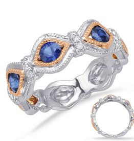 S. Kashi Rose & White Gold Diamond & Sapphire Ring